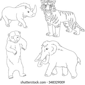 Set of mammoth, prehistoric bear, saber-toothed tiger and rhino. Coloring book for kids. Vector illustration