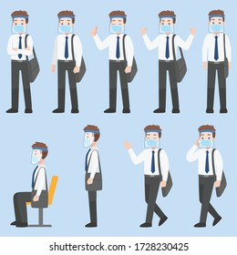 Set of Man in business casual outfits in New normal life wearing a surgical protective Medical mask and face shield for prevent coronavirus. character pose front side turn around cartoon, Health care.