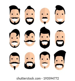 Set of man cartoon faces with beard and mustache