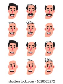 Set of a man character face with different hairstyles and different mustache.