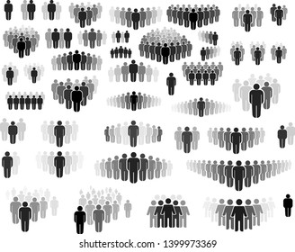 Set of Man crowd figures for graphic and web design. Modern simple sign. Internet concept. Trendy symbol for website design web button or mobile app. Vector illustration. Isolated on white background.