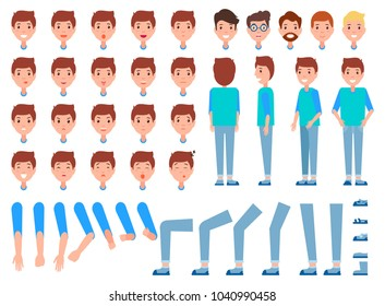 Set of man faces, body parts, male front back side view character constructor emotions vector. Male in positive and negative mood, energetic and tired