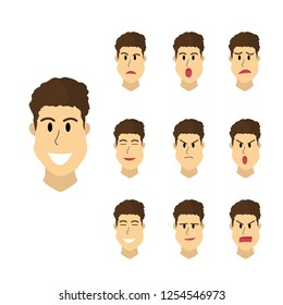 set of man faces expression