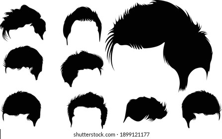 Set of Man Hair Silhouette Vector Art Collection