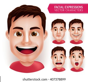 Set Man Head Emotions in 3D Realistic with Different Facial Expression Isolated in White Background. Vector Illustration