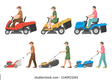 Set of Man with lawnmower. flat style. isolated on white background