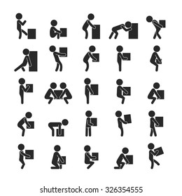 Set of man moving box, Human pictogram Icons , eps10 vector format