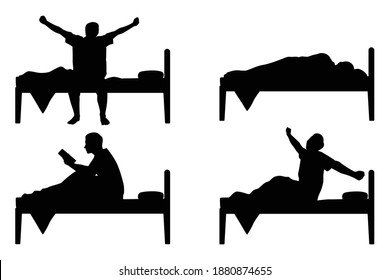 Set of man on bed silhouette vector