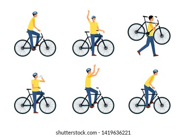 Set of man riding or sitting on bicycle or standing near it flat cartoon style, vector illustration isolated on white background. Male biker in helmet drinking water from bottle or carrying bicycle