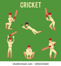 Set of man standing in hit or catch ball poses holding cricket bat cartoon style, vector illustration isolated on green background. Male cricket player or batsman in sport uniform