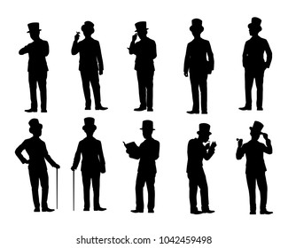 Set of man in suit with top hat silhouette vector