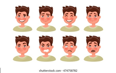 Set a man with a variety of emotions. Vector illustration of a modern design