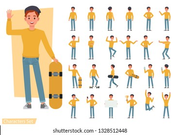 Set of man wear yellow shirt character vector design. Presentation in various action with emotions, running, standing and walking.