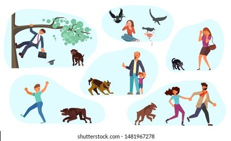 Set of man and woman runs from the dog or scared of a black cat. Huge homeless aggressive mongrel attacks people. Flat Art Vector illustration