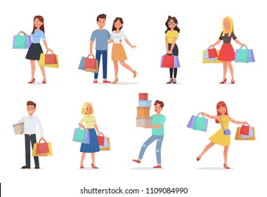 set of man and woman shopping character with boxes and paper bags vector design