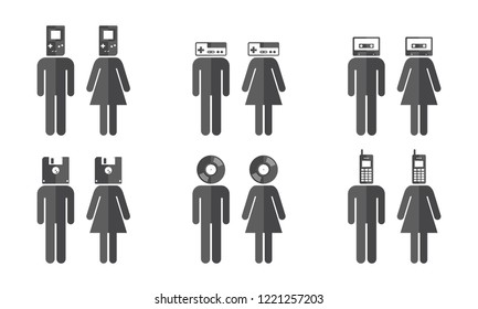 Set of Man and Woman Symbols with Various Retro Objects as Head / Handheld Game Console, Game Joypad, Tape Cassette, Floppy Disk, Vinyl Record, Mobile Phone - Vector Illustration
