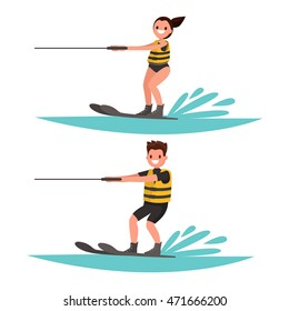 Set man and woman water-ski. Vector illustration of a flat design