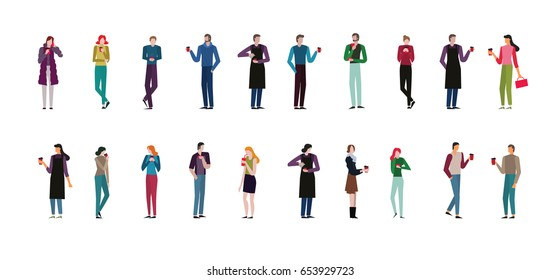 set of man and women in different poses.Man and women are drink coffee.