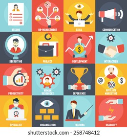 Set of Management Human Resources- vector icons