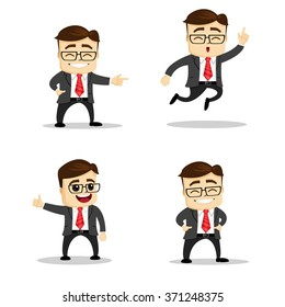 set of manager character in different interactive poses. flat person. vector character