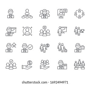 Set of manager Related Vector Line Icons. Includes such Icons as director, chief, businessman, personnel, team, business, company, audience and more.