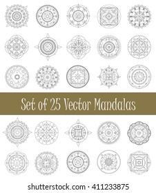 Set of mandala ornament for graphic design and coloring, collection of isolated mandalas vector clipart, vector illustration - arabic and geometric mandala circle ornament, mandala stamp, mandala icon