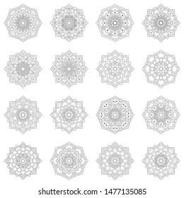 Set Of Mandala Pattern Template