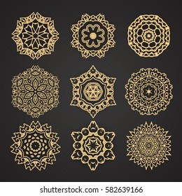 Set of mandalas. Collection of stylized stars and snowflakes.  ornaments. Template for embroidery. Sketches for tattoo graphic Thai design