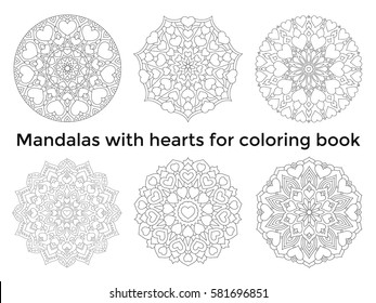 Set mandalas with hearts. Collection symmetric circular ornaments. Coloring book for adults