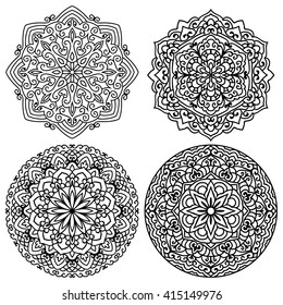 Set Of Mandalas For Painting. Great for Antistress Coloring Book, Artmeditation. Vector Ethnic Oriental Circle Ornament.