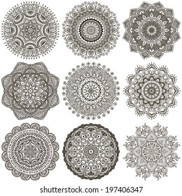 Set Mandalas. Round Ornament Pattern