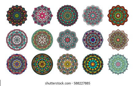 Set Of Mandalas. Vector Ethnic Oriental Circle Ornament.