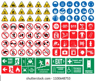 set of mandatory sign, hazard sign, prohibited sign, fire emergency sign. for sticker,   posters, and other material printing. easy to modify.