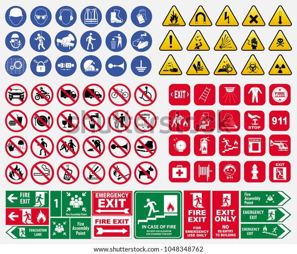 set of mandatory sign, hazard sign, prohibited sign, fire emergency sign. for sticker, posters, and other material printing.