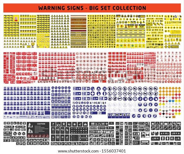 set of mandatory sign, hazard sign, prohibited sign, occupational safety and health signs, warning signboard, fire emergency sign. for sticker, posters, and other material printing. easy to modify.