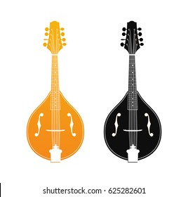 Set of Mandolin in Orange and Black Colors isolated on white, Vector Icons of Folk Acoustic Strings Instruments in Classical Design.