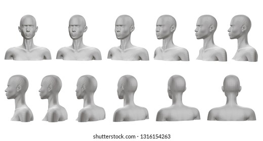 Set with mannequin presented on all sides. 3D. Isolated set with a mannequin with a bust and head. The dummy view rotates from the front side to the back side. Vector illustration.