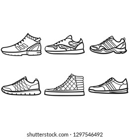 Set of mans sneakers outlined icons in white background
