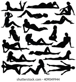 Set of many black vector silhouettes of women in different lying and sitting poses. Silhouettes of beautiful sexy girl isolated on white background. Black profile of slim woman body in lying position.