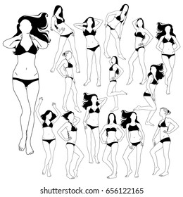 Set of many black vector silhouettes of beautiful women. Silhouettes of bikini girls in standing positions. Vector profile of slim woman body.