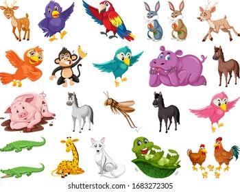 Set of many cute animals on white background illustration