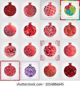 Set of many decorative ornamental pomegranates made of doodles. Vector abstract illustration of fruit logo for branding, poster or packaging design