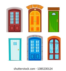 Set of many different doors. Vector illustration in flat style.