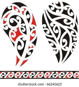 Set of maori tribal tattoo