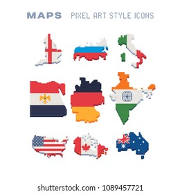 Set of map of different countries with flags, Russia, India, Germany, Egypt, USA, Italy, Canada, Australia, pixel art icon, isolated vector illustration. 8-bit. Design for stickers, app, magnet.