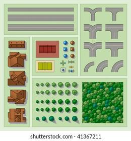Set of map elements. Vector