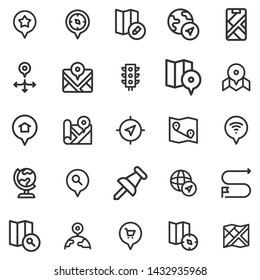 Set of Map Icon Vector on white background
