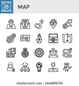 Set of map icons such as Berlin wall, Placeholder, Contact us, Travel, Global network, World, Map, Parfume, Thermo bag, Flag, Website, Compass, Location, Route, Pirate, Cloud network , map