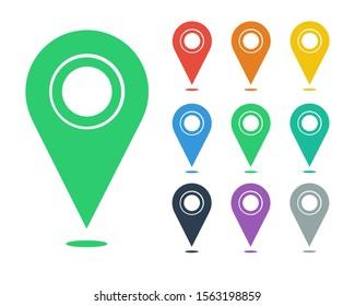 Set of map location pin vector illustration. EPS 10