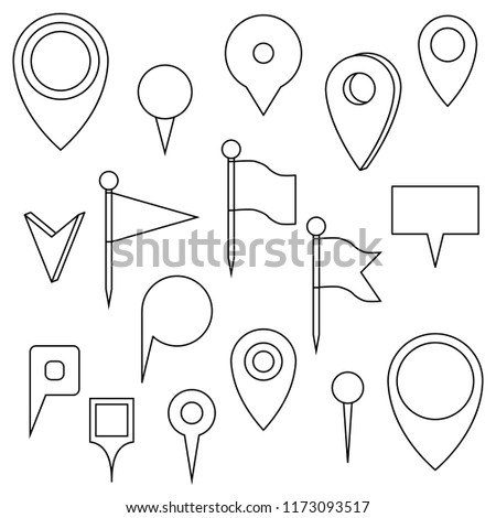 set map pins isolated objects on stock vector royalty free